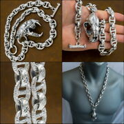 24 322g Heavy Curb Link Tiger Skull Chain 925 Sterling Silver Mens Necklace Pre
