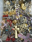 Estate Vintage Now Religious Catholic Jewelry Lot Medals Rosary Cross+ 10 Pcs