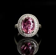 14k White Gold Pink Tourmaline And Diamond Ring From The Gene Autry Estate