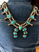 Turquoise Squash Blossom Necklace Silver Bench Beads Bisbee Mine