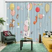 Hedgehog Deer Balloon 3d Curtain Blockout Photo Printing Curtains Drape Fabric