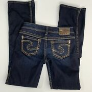 Silver Tuesday Bootcut Jeans Dark Wash Thick Stitch Distressed 26/31