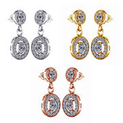 1.12 Ct Oval Natural Diamond Dangle Drop Vintage Earrings 18k Solid Gold