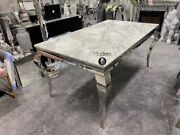 Grey Marble Louis Dining Table 1.6m Wide With Curved Chrome Leg And Chairs Option