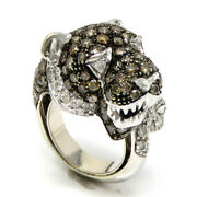 Nyjewel 18k Gold Leopard Panther 4ct Color And White Diamond Ring