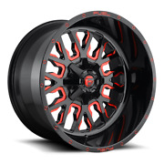 4 22x10 Fuel Gloss Black W/ Candy Red Stroke Wheels 8x170 For 03-19 F250 F350