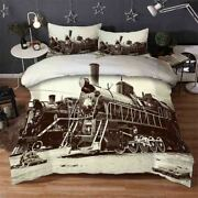 Brown Old Train 3d Printing Duvet Quilt Doona Covers Pillow Case Bedding Sets