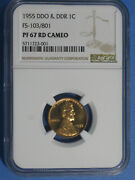 1955 Proof Lincoln Cent Ngc Pf 67 Rd Cameo Ddo And Ddr - Fs-103/801 23-001