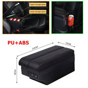 Center Console Armrest With 7 Usb Charging Ports Built-in Led Light Cup Holder