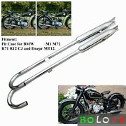 Exhaust Pipes Steel Muffler Fishtail Chrome For Bmw R71 R12 Motorcycle Pair