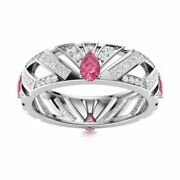 Certified 2.26 Ct Pink Tourmaline And Diamond 14k White Gold Unique Wedding Ring