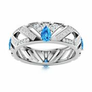 Certified 2.26 Ct Blue Topaz And Diamond 14k White Gold Unique Wedding Ring