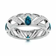 Certified 2.26 Ct London Blue Topaz And Diamond Wedding Ring In 14k White Gold