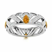 2.26 Ct Natural Citrine And Diamond 14k White Gold Unique Eternity Wedding Ring