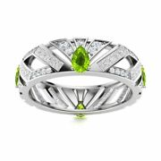 2.26 Ct Natural Peridot And Diamond 14k White Gold Unique Eternity Wedding Ring