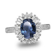 14k White Gold 2.80 Ct Simulated Oval And Round Cut Blue Tanzanite Engagement Ring