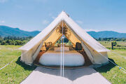 6m Canvas Bell Tent Camping Glamping Tent Hunting Yurt Double Door Stove Jack