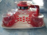 Vintage 70s/80s Glass Coffee Tea Pot And 4 Cups With Red Hearts And Handles And Tray