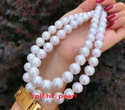 Aaa++ Long 3613-14mm Round Real Natural South Sea White Pearl Necklace 14k Gold