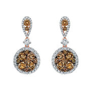 18k Rose Gold Brown And White Natural Diamond Circle Halo Drop Earrings 2tcw