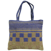 Swank Bags Cotton String Tote Bag With Light Purple/gold/beige Zip Close Ab-cb25