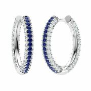 Certified 14k Solid Gold 3.17 Ct Natural Blue Sapphire And Diamond Hoop Earrings