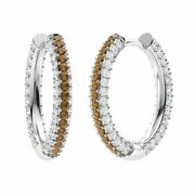 Certified 3.17 Ct Round Brown And White Diamond Hoop Earrings In 14k Solid Gold