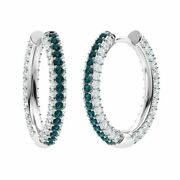 Certified 3.17 Ct Round Blue And White Diamond Hoop Earrings In 14k Solid Gold