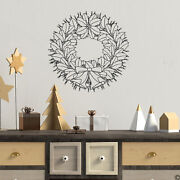Christmas Holly Wreath With Bells And Ribbon Wall Decal Holiday Decor K775