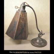 Antique Arts And Crafts Mission Desk Lamp Mica Shade Double Knuckle