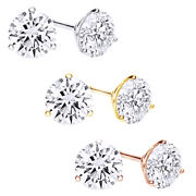 1 1/4 Carat Round Diamond Martini-glass 3-prong Stud Earrings In 18k Solid Gold