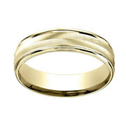 14k Yellow Gold 6mm Comfort-fit Chevron Design High Polished Band Ring Sz-8
