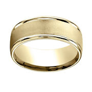 14k Yellow Gold 8mm Comfort Fit Wire Brush Finish High Polished Band Ring Sz 7