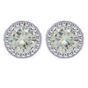 3.25 Ct Genue Moissanite Round Halo Style Stud Earrings 10k Solid White Gold