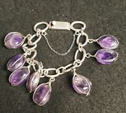 Gorgeous Vintage Rare Mexico Sterling Caged Amethyst Long Eagle 3 Bracelet
