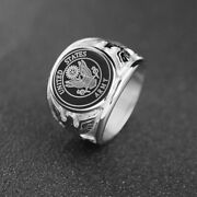 Usa Military Rings United States Us Army Fire Men Signet Stainless Steel Jewelry