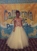 Custom One-of-a-kind Pink White Winning Pageant Gown Teen Girls Size 10/12/14