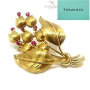 Nyjewel And Co. 18k Yellow Gold Lily Of The Valley Ruby Pin Brooch