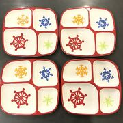 Target Home Melamine Set 4 Christmas Snowflakes Holiday Kids Plates Divided Red