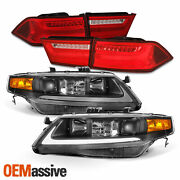 Fits 04-08 Acura Tsx Led Light Tube Drl Projector Headlights + Red Tail Lights