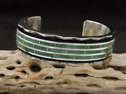 Heavy Sterling Silver Inlay Green Turquoise Inlay Menand039s Cuff Bracelet