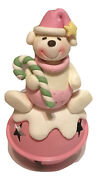 The Krafts Factory Pink Baby Bear With Candy Cane On Bell Clay Metal Ornament