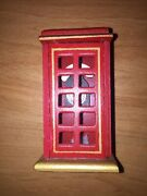 Christmas Village Telephone Booth Holiday Collectible Red Wooden Phone Accesso
