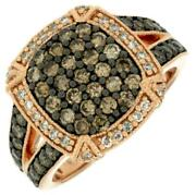Large 1.31ct White And Chocolate Fancy Diamond 14kt Rose Gold Cluster Square Ring