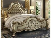 1pc Bedroom Furniture Eastern King Size Bed Claw Legs Gold Patina Bone Finish