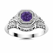 Antique Vintage 0.42 Carat Natural Amethyst And Diamond Ring In 14k White Gold