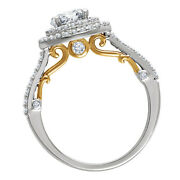 14kt White Gold And Yellow 5/8 Ct Diamond Semi-mount Engagement 6.5mm Round Center