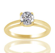 0.49 Ct Simulated Round Classic Engagement Ring 18k Yellow Gold