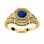 Antique Vintage 0.52 Carat Natural Blue Sapphire And Diamond Ring 14k Yellow Gold