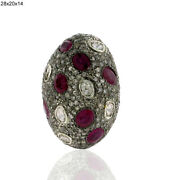 Designer Natural Ruby Spacer Finding 925 Sterling Silver Jewelry Making